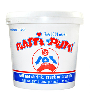 SOS Products PP-3 Plasti-Putti Plumber's Putty is designed for 1001 uses. This is our recommended choice of putty for all plumbing applications because it will not shrink, crack or crumble.